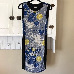 Anthro Weston Color Block Sleeveless Floral Dress